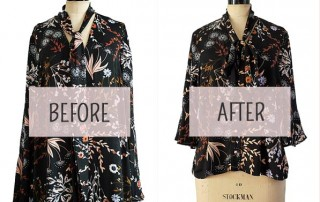 Dress to blouse refashion. Before and after