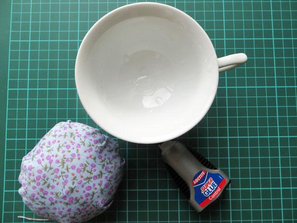 How to make a tea cup pin cushion